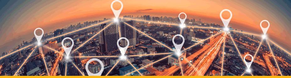Bitcoin-Netzwerk - Stadt mit Navipunkten und Linien